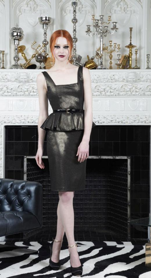 שמלת פפלום נוצצת עליונית בגזרת פפלום