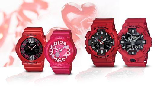 מגוון שעוני ג'י-שוק ושעוני בייבי ג'י אופנתיים בצבעי אדום עז- צילום קסיו חול