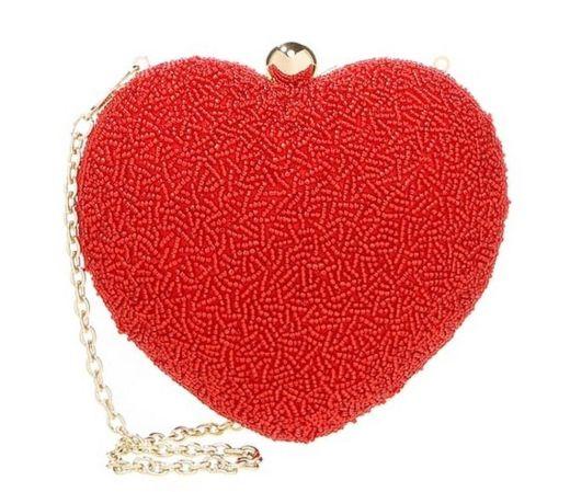 תיק קלאץ לב אדום חרוזים 235שח צילום יחצ חול