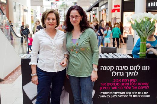 אילנית גריוביץ ברגר ונאווה ברק בדוכן עמותת עלם בקניון רמת אביב. צילם סטודיו לם וליץ