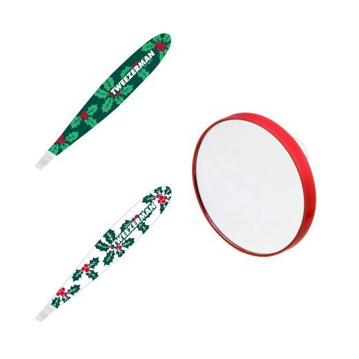 tweezerman festive holly mini tweezer and mirror feeluniqueפינצטה ומראה