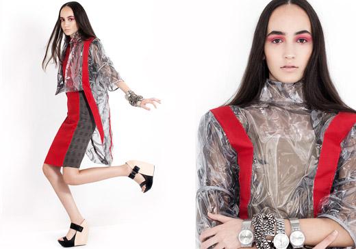 שמלה ומעיל מניילון ,אריג, ובד דמוי עור - ויקי אלון  viki allon