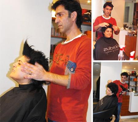נאוה סימן-טוב החלה מהפך - מעצב השיער רפאל ינקה ונאוה סימן טוב בפעולה.