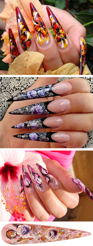 ציפורני סטילטו - Stiletto nails. באדיבות אושרת חן.