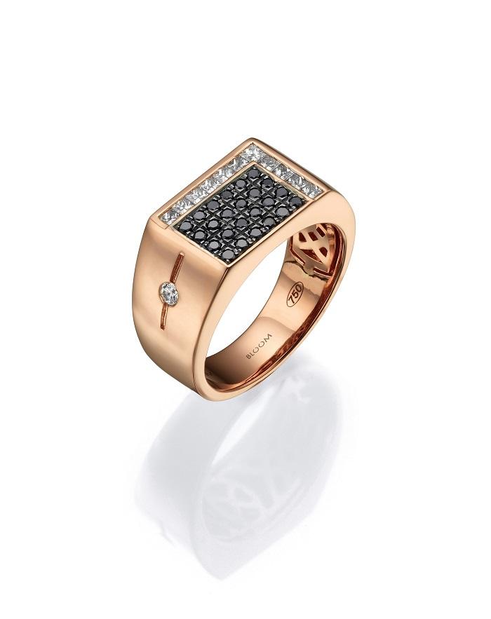 טבעת מזהב ורוד 18 קראט בשיבוץ יהלומים, 9300 שח, להשיג ב- BLOOM , יחצ
